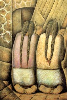 Alfredo Ramos Martínez, Mexican painter and muralist Las Tejedoras, témpera y carboncillo en papel periódico (1944)The Weavers, tempera and charcoal on newsprint (1944)