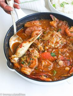 Gumbo Jump to Recipe Print RecipeChicken Shrimp & Sausage Gumbo — a rich, flavorful gumbo with authentic flavors; loaded with chicken, sausage, shrimp and crab legs. I Heart Gumbo! It just blends right in with my African Cuisine – spic Okra Gumbo, Gumbo Soup, Creole Recipes, Cajun Recipes, Cooking Recipes, Haitian Recipes, Oven Recipes, Donut Recipes, Chili Recipes