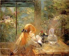 Red haired girl sitting on a veranda - Berthe Morisot, 1884