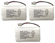 Uniden BBTY0504101 model BT446 Genuine Original OEM Uniden Shipped with Uniden Phones, Part Number BBTY0504101, Nickel Metal Hydride Rechargeable Cordless Phone Battery Pack; Equivalent to Uniden BT909, BT1005 and BT504; Fits WHAM; DC 3.6V 800mAh; Also known as BBTY0504001; Manufactured in China by BYD for Uniden - Pack of 3