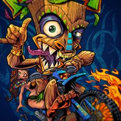 Tshirt illustration of a tiki guy riding a dirtbike for ...