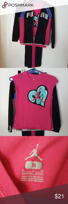 Girls Air Jordan / Puma warm-up outfit Set of 3 size 8 girls Air Jordan black pants with pink stripes coordinating Air Jordan pink t-shirt number 23 in a heart. Puma jacket girls size small also fits size 7/8 pockets and thumb holes in sleeves. Smoke-free pet-free home super cute very good condition outfit! Air Jordan Matching Sets