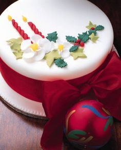 Traditional Christmas Cake Ideas - I like how the holly is slightly bumped up so it looks more realistic