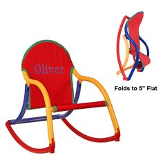 This kids rocker folds to flat and can easily be carried by children. It has many safety features and is available in 8 color combinations. These folding kids rocking chairs are useable indoors or out. Kid's love their personalized rocking chair!