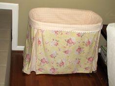 bassinet skirt tutorial (sort of) - Modern Bassinet Cover, Baby Bassinet, Bassinet Ideas, Vintage Bass, Girl Cribs, Skirt Tutorial, Girl Nursery, Nursery Ideas, Baby Sewing