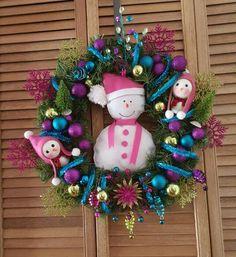 Corona navideña muñeco de nieve