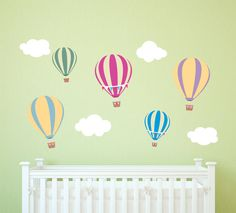 Hot Air Balloon Decals  Nursery Balloon Decals  Hot Air Owl Wall Decals, Childrens Wall Decals, Balloon Wall, Hot Air Balloon, Balloons, Custom Wall, Balloon Decorations, Textured Walls, Pattern Paper