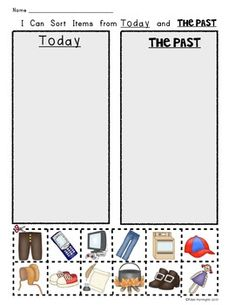Today and The Past Social Studies for Kindergarten. Picture sort work page for young students. $