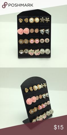 """Bundle fireball pearl pink panda shabby chic ivory NWT Bundle lot set of 12 pairs of stud earrings on earring display. You will receive all the items shown (12 pairs of studs + 1 display)(display is approximately 2.5"""" W X 2.75"""" H). Items are NOT sold individually. Mixed Metals. Lead & nickel free & hypoallergenic. Price is firm! Bundle to SAVE! ER#140 Tops"""