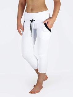 a1f78ebd04 Black White Yoga Pants with Drawstring and Pockets White Capri Leggings,  Capri Pants, Running