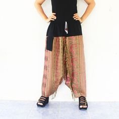 green and pink harem pants  Indian shawl fabric by meatballtheory