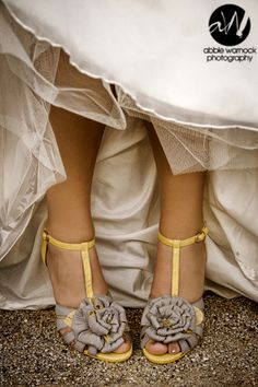 wedding day - details - bride - shoes - heels - gray - flowers - yellow - ideas - photography by Abbie Warnock; that's my girl! Sister Wedding, Dream Wedding, Wedding Day, Wedding Dreams, Wedding Stuff, Yellow Grey Weddings, Gray Weddings, Alternative Wedding Shoes, Storybook Wedding