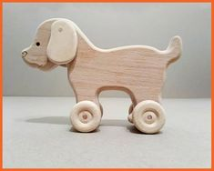 Toy wooden dog on wheels, Toy for baby, Ecological gift for a child - Toy wooden dog on wheels Toy for baby Ecological gift for a Handmade Wooden Toys, Wooden Crafts, Wooden Toy Trucks, Jeep Willys, Small Wood Projects, Buy Toys, Woodworking Toys, Toy Puppies, Wooden Animals