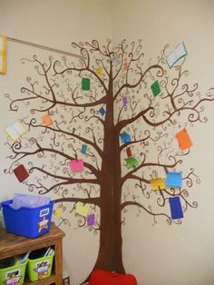 Book Tree:   Students post book reviews on the tree using the painted clothes pins that are on the tree.
