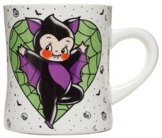 SOURPUSS KEWPIE BAT MUG - Enjoy your morning cup of coffee or tea with this charming, little vampire bat! Tattoo artist, Stacey Martin-Smith, is the master of rosey-faced kewpies and has succeeded in melting our Halloween-lovin' hearts with this mug.