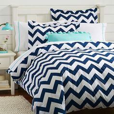 Chevron Duvet Cover + Sham, Royal Navy | PBteen