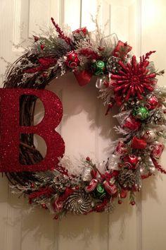 "Custom ""B"" wreath, #christmaswreath #sparklychristmas #playfulchristmas #handmade #frontdoor"