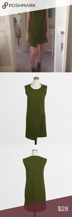 J Crew Drapey Knit Dress XXS I love this dress and wear it with leggings or tights and a cardigan to work. The color is between moss and olive green.I'm 5'4 and 105# for reference and the xxs is a perfect fit. Cotton/poly. Falls above knee. J. Crew Dresses