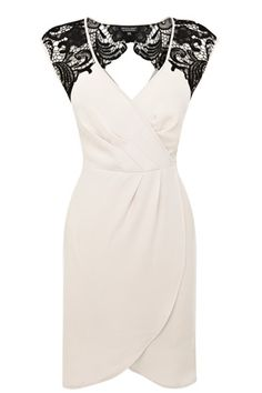 Black and White Lace Shoulder Wrap Dress