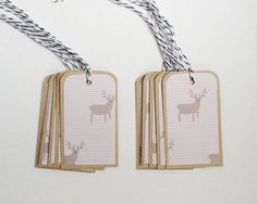 Reindeer Pattern Christmas Gift Tags Set of by WideSkyPapercrafts, £6.00
