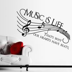 """Dnven (Super Large 51""""w X 22""""h) Music Is Life That's Why Our Hearts Have Beats Music Notes Clef Decals Stickers Wall Vinyl Art Girl Boy Teen Baby Home Vinyl Wall Decals Quotes Sayings Letterings Words Arts Bedrooms"""