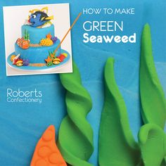 FInding Dory Cake: How to make Green Seaweed - Roll and cut different sized strips of green fondant. Twist, lay on baking paper and leave to dry. Full recipe on Roberts Confectionery website: http://www.robertsconfectionery.com.au/pages/recipe-sheets