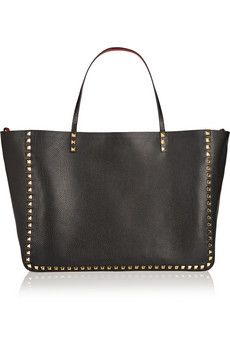 Valentino The Rockstud reversible large textured-leather trapeze bag | NET-A-PORTER