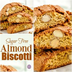 Sugar Free Almond Biscotti Recipe High Protein Recipes, Protein Foods, Keto Recipes, Keto Desserts, Easy Recipes, Sugar Free Biscotti Recipe, Almond Biscotti Recipe, Rusk Recipe, Low Carb Diet