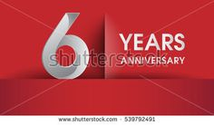 6th Years Anniversary celebration logo, flat design isolated on red background, vector elements for banner, invitation card and birthday party.