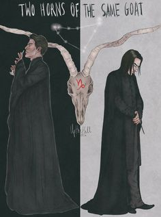 Two Death Eaters - Two Horns of the Same Goat Capricorn: Tom Riddle Jr. (Dec and Severus Snape (Jan Both stubborn, emotionally detached, secretly afraid of rejection. Both resentful towards those who were unfair to them, and both do revenge. Severus Snape Death, Alan Rickman Severus Snape, Severus Rogue, Harry Potter Artwork, Harry Potter World, Harry Potter Memes, Snape Always, Best Dad, Cool Drawings