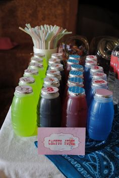 """Cowgirl Party! """"Cactus Juice"""" Rodeo Birthday Parties, Birthday Party Themes, 4th Birthday, Birthday Ideas, Country Birthday, Pony Party, Vintage Cowgirl, Cowboy Theme Party, Rodeo Party"""