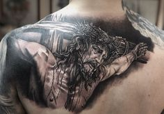 Tattoo Mihail Sheykin - tattoo's photo In the style Black and grey, Jesus Christ, Religio Half Sleeve Tattoos Forearm, Best Sleeve Tattoos, Body Art Tattoos, Cross Tattoo Designs, Tattoo Designs Men, Christus Tattoo, Religious Tattoo Sleeves, Jesus Tattoo Design, Jesus Drawings