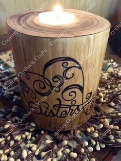 Sister Log Pillar Tea Light Holder by CountryOutbackCrafts on Etsy
