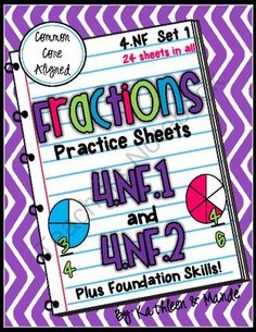 4.NF.1 & 4.NF.2 Practice: Equivalent Fractions & Comparing Fractions from Kathleen and Mande' on TeachersNotebook.com -  (32 pages)  - This CCSS aligned division packet includes 24 practice sheets filled with practice fraction problems, example problems, and step-by-step directions. These can be used to introduce a concept, review a concept, or send home as reinforcement for homework. An