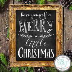 Merry Little Christmas Chalkboard Sign Christmas by BeauTiedAffair