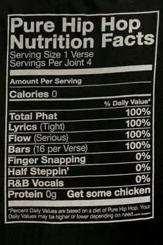 Hip hop nutritional facts