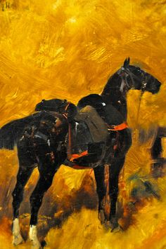 Rene Priceteau - A Charger in an Interior with a Saddle and Bridle, 1884 at the Virginia Museum of Fine Arts (VMFA) Richmond VA