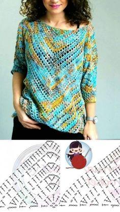 Crochet Cardigan Pattern, Crochet Stitches Patterns, Crochet Blouse, Crochet Poncho, Lace Knitting, Knitting Patterns, Knitting Tutorials, Knit Stitches, Tunisian Crochet