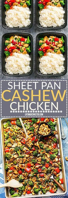 Cashew Chicken Sheet Pan has all the flavors of the popular Chinese restaurant takeout dish made on a sheet pan. Best of all super easy to make with paleo friendly options. Plus a serving of tender crisp broccoli and red & green bell peppers for a health Sunday Meal Prep, Lunch Meal Prep, Healthy Meal Prep, Healthy Eating, Clean Eating, Lunch Recipes, Dinner Recipes, Cooking Recipes, Healthy Recipes
