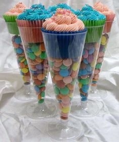 Candy & cupcake in plastic wine glass