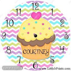 Cupcake Personalized Wall Clock Kitchen Bakery by LittlebPrints, $18.00