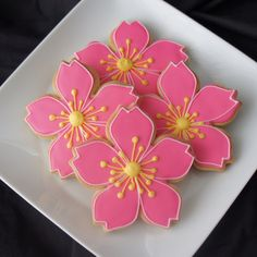 Pretty, simple cherry blossom cookies.