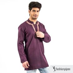 #Purple passion #kurta  with hand embroidered neckline  Buy: http://www.fashionpiper.com/men/indian-wear/kurta-set/purple-passion-kurta-1759.html