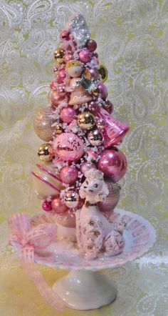 SOLD Request a Custom Order Pink by laughterandlemondrop on Etsy Pink Christmas Tree, Miniature Christmas Trees, Shabby Chic Christmas, Christmas Ornaments To Make, Victorian Christmas, Christmas Projects, Vintage Christmas, Christmas Decorations, Christmas Stuff