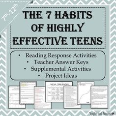7 Habits of Highly Effective Teens - Reading Response Shee