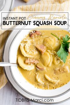 Instant Pot Creamy Ravioli Butternut Soup is healthy, creamy, nourishing perfection! Quick and easy to make on a busy weeknight. Healthy Soup Recipes, Crockpot Recipes, Healthy Eats, Butternut Squash Soup Creamy, Utah Food, Pressure Cooker Recipes, Pressure Cooking, How To Cook Sausage, Creamy Chicken Enchiladas