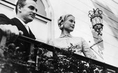 Grace Kelly e o príncipe Rainier após a cerimônia civil