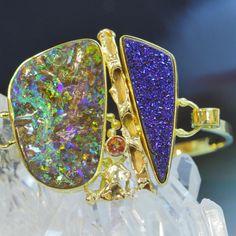 Boulder opal bracelet with drusy quartz in 22k and 18k gold. Boulder opal from Bill Kasso, Eagle Creek Opal
