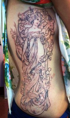 This is the outline of my brand new Mucha Art Nouveau rib tattoo, beautifully done by the very talented Andrea Liggett at 80D Tattoo in Denver, Colorado. Being an art student, Mucha's artwork is something I constantly revisit for inspiration & now I can carry it with me always.   It took 5 and a half hours to complete, and I could not be happier with it. As soon as it heals i'm going back in to get shading/coloring.     caviarandkush.tumblr.com  facebook.com/andee.liggett