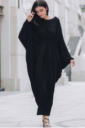 Stylish Batwing Sleeve Round Neck Loose-Fitting Maxi Dress For Women in Black | Sammydress.com Mobile
